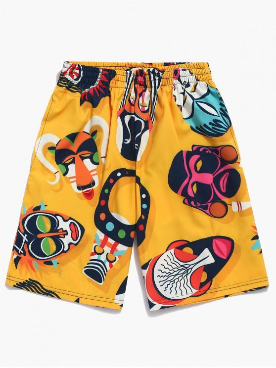 shops Animal Face Mask Print Beach Shorts - BRIGHT YELLOW XL