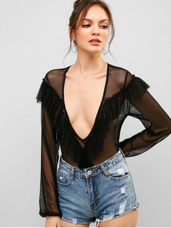 sale Ruffles Mesh Panel Low Cut Bodysuit - BLACK M