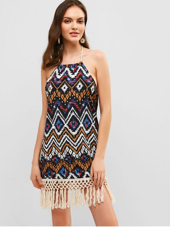 ladies Tassels Open Back Geometric Zig Zag Dress - MULTI S