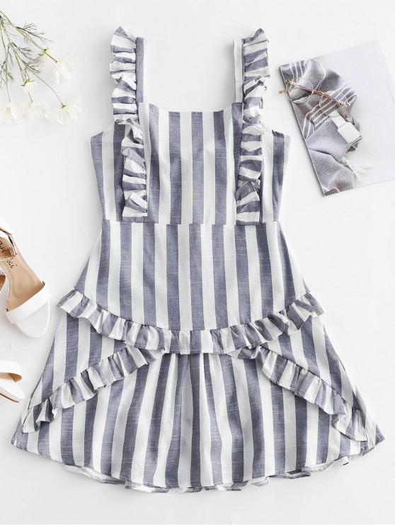 trendy Tied Back Ruffles Stripes Mini Dress - MULTI M