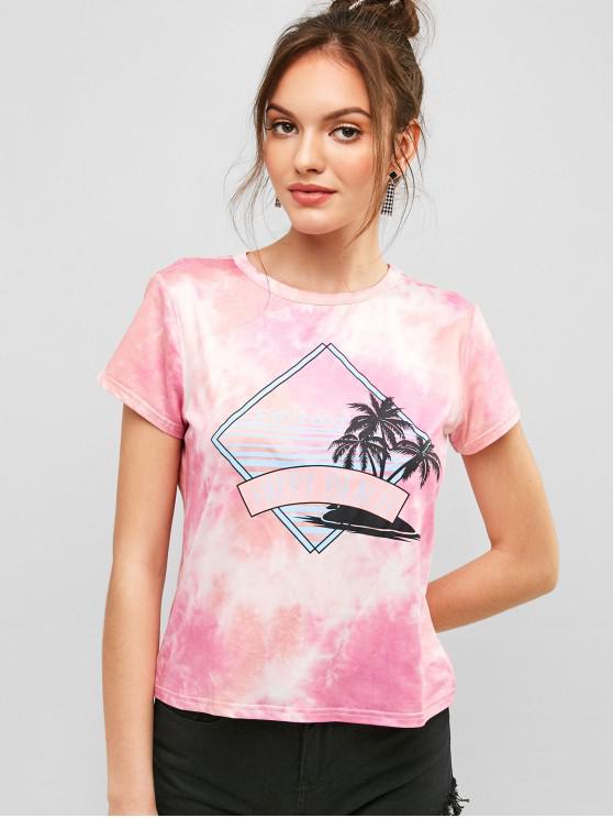 online ZAFUL Palm Tree Letter Print Tie Dye Tee - MULTI L