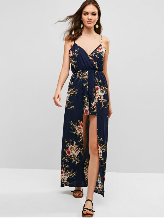 ladies Overlap Floral Cami Maxi Romper - MIDNIGHT BLUE XL