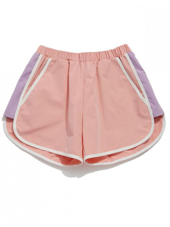 hot ZAFUL Color Block Pocket Sport Shorts - PINK L