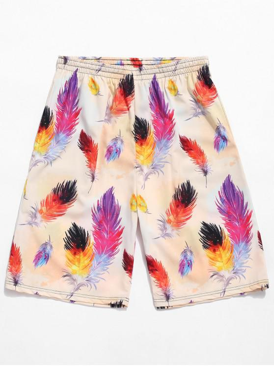 women's Colorful Feather Painting Print Board Shorts - TAN BROWN 4XL