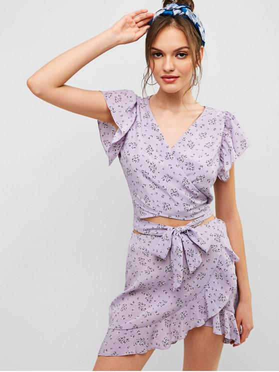 outfits ZAFUL Floral Knotted Wrap Top And Ruffles Skirt Set - WISTERIA PURPLE L
