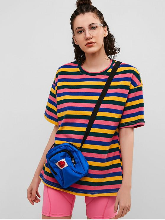 outfits Colorful Striped Casual Boyfriend Tunic Tee - MULTI M