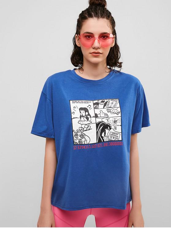 fashion Cute Graphic Cotton Boyfriend Tee - BLUEBERRY BLUE XL
