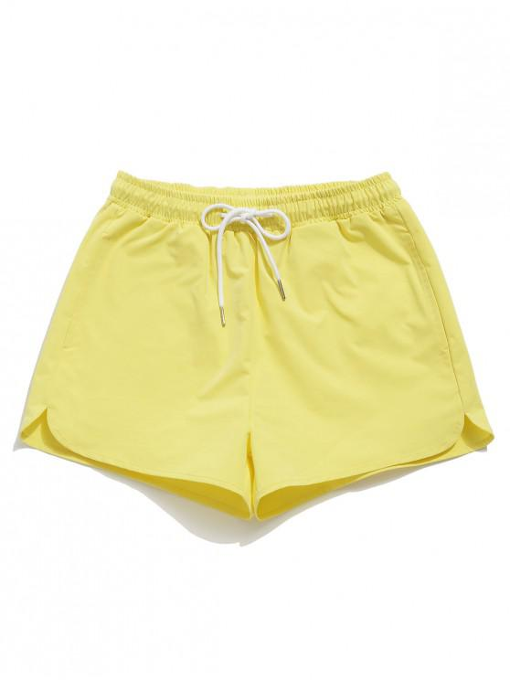 womens ZAFUL Drawstring Pocket Shorts - YELLOW S