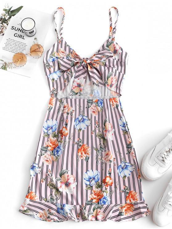 best Tie Front Ruffles Floral Stripes Mini Dress - MULTI L