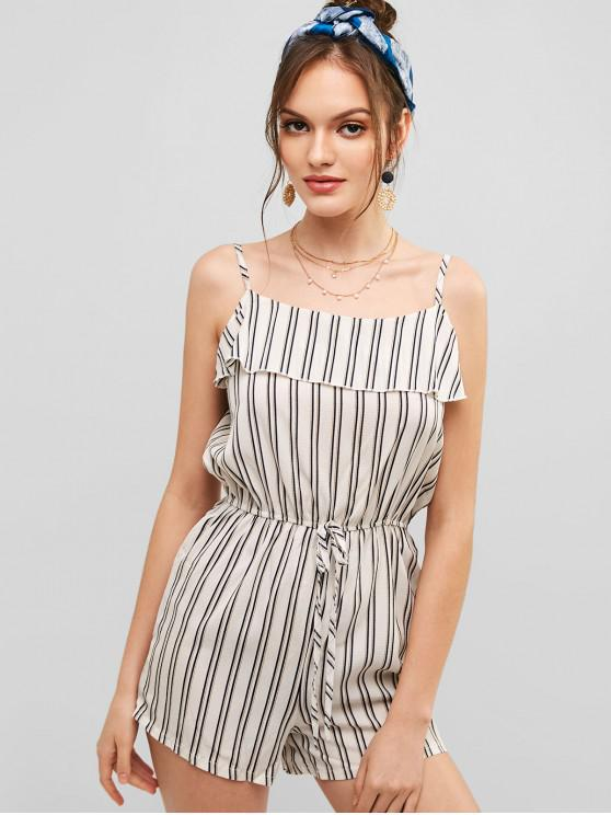women's Bowknot Stripes Cami Romper - MULTI S