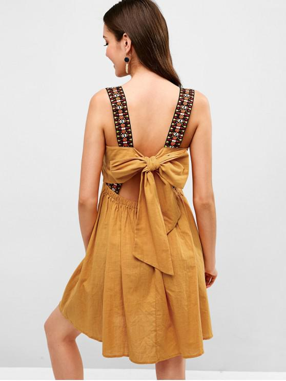 latest Knotted Open Back Tassels A Line Dress - YELLOW M