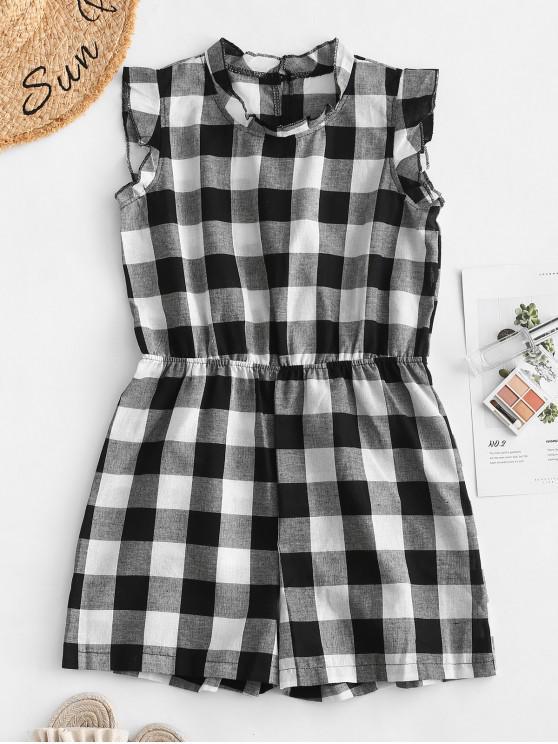 fashion Cut Out Plaid Sleeveless Romper - BLACK L