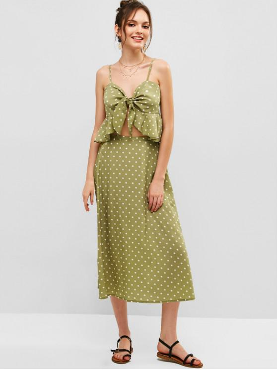 online ZAFUL Polka Dot Knotted Top and Maxi Skirt Set - SALAD GREEN M