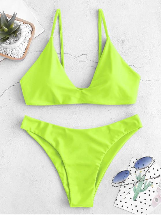 women ZAFUL Tie Bralette Bikini Set - GREEN YELLOW M