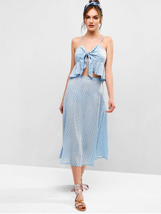 affordable ZAFUL Tie Front Floral Print Maxi Skirt Set - LIGHT BLUE L