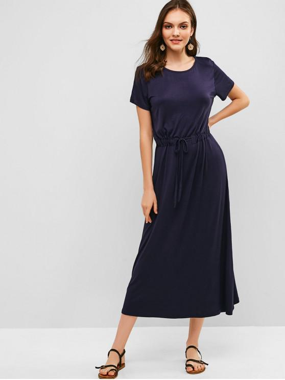 outfits Short Sleeve Drawstring Casual Maxi Dress - MIDNIGHT BLUE ONE SIZE