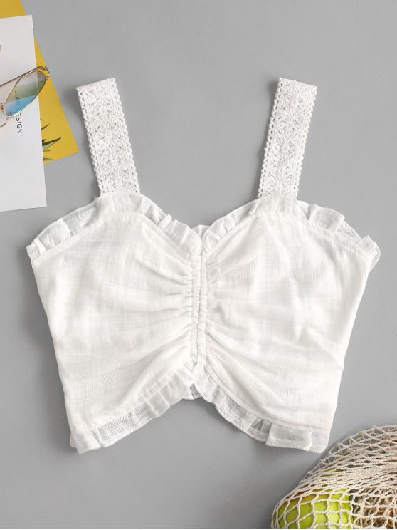lady Frilled Ruched Smocked Crop Top - WHITE M