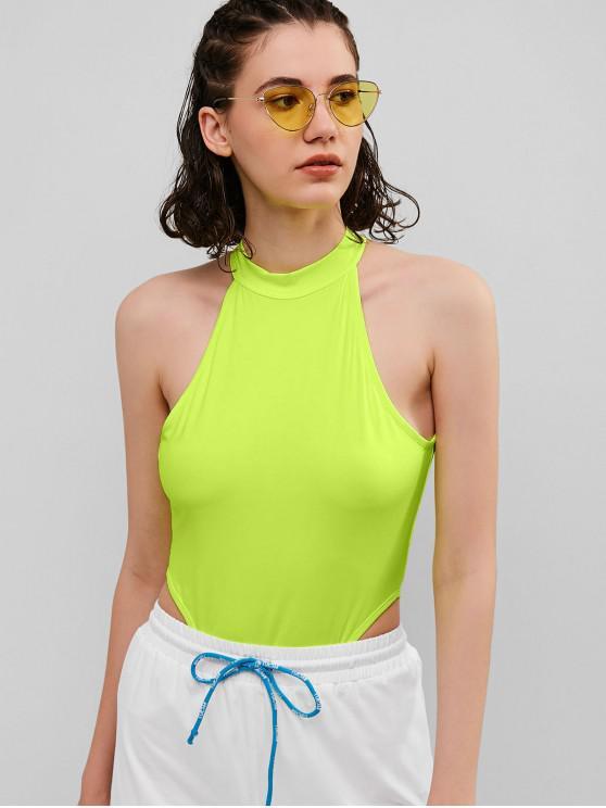 buy Crew Neck High Cut Thong Bodysuit - PISTACHIO GREEN S
