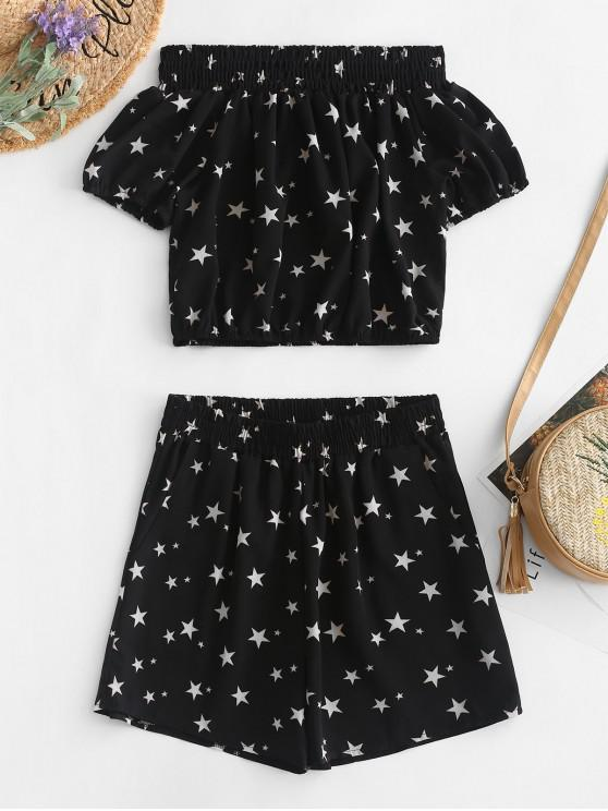 unique ZAFUL Off Shoulder Stars Top And Shorts Set - BLACK XL