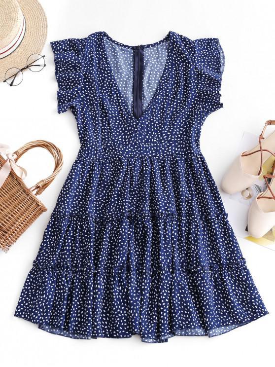 fashion Ruffles Raindrop Print Mini Dress - BLUE XL
