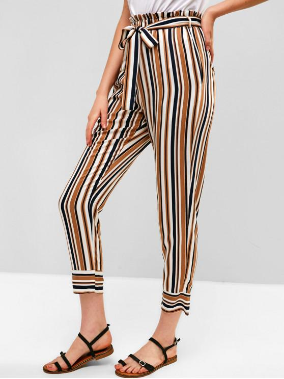 outfit ZAFUL Striped Belted Paperbag Pants - MULTI S
