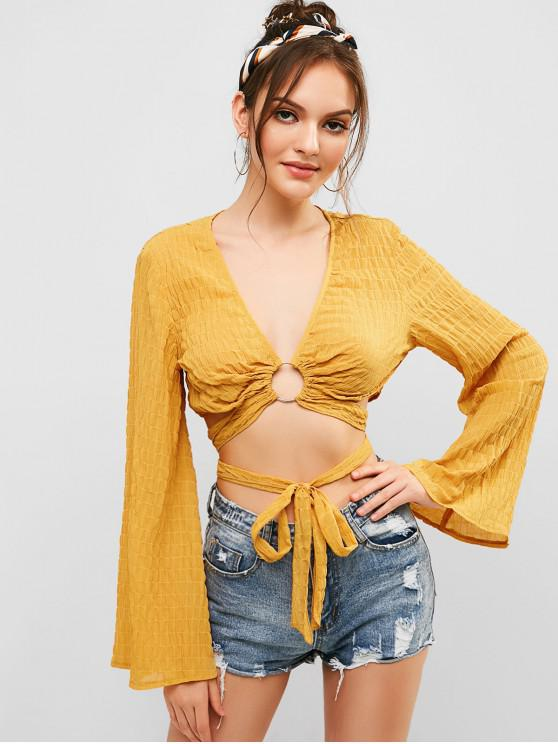 chic ZAFUL Ring Embellished Knotted Textured Blouse - BEE YELLOW S