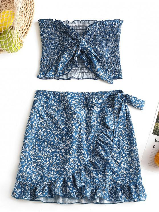 chic Tiny Floral Smocked Ruffles Skirt Set - CRYSTAL BLUE M