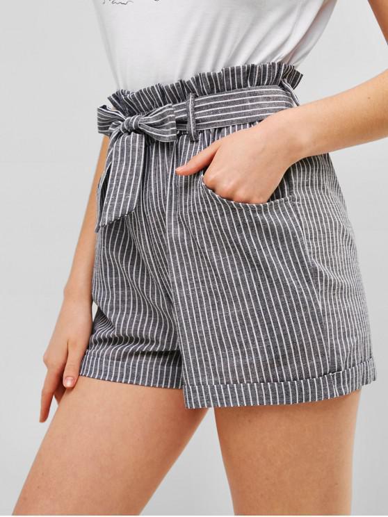 best High Waist Striped Belted Cuffed Shorts - GRAY XL