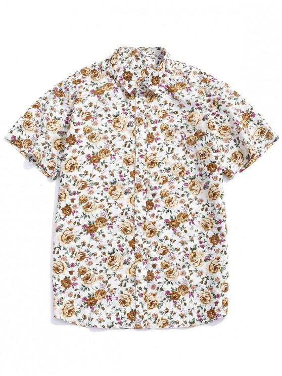 trendy Flowers Allover Printed Button Up Shirt - MULTI-A XL