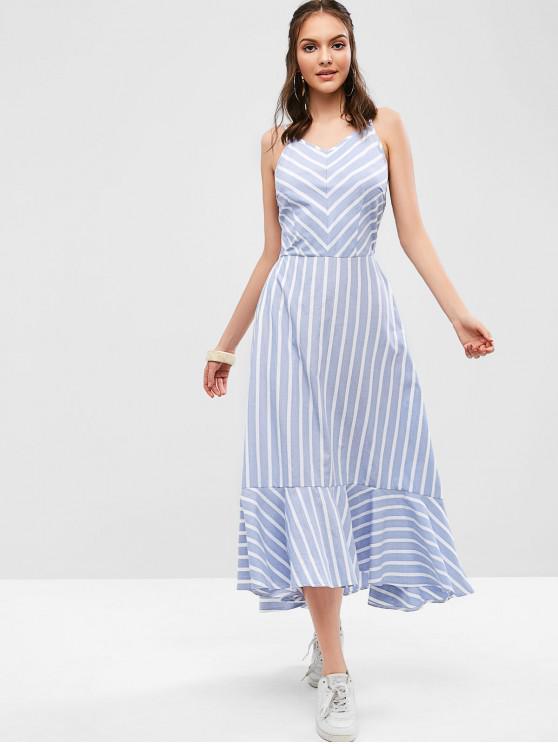 unique ZAFUL Ruffles Striped Cut Out Cami Dress - MULTI L