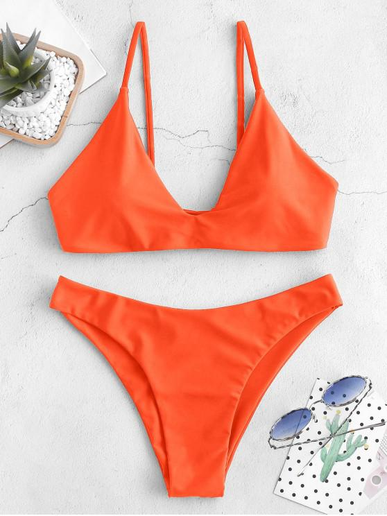 women's ZAFUL Tie Bralette Bikini Set - PUMPKIN ORANGE S