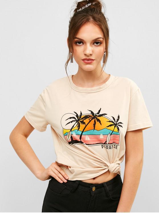 best ZAFUL Letter Palm Tree Graphic Short Sleeve Tee - LIGHT KHAKI S
