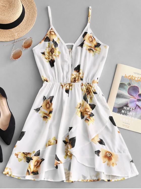 fashion Floral Cut Out Ruffles Cami Dress - WHITE L