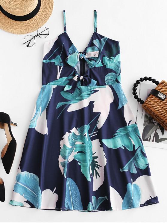 fancy Tie Front Palm Leaves Cami Dress - MULTI L