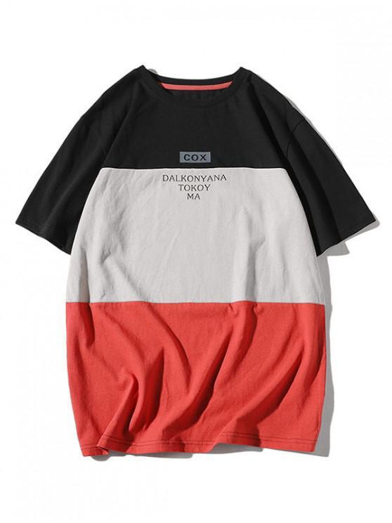 outfit Color Block Panel Letter Print T-shirt - BLACK L