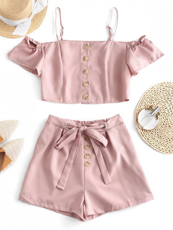 fashion Cold Shoulder Buttoned Blouse and Shorts Set - SAKURA PINK XL