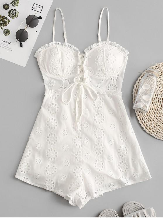 fashion Lace-up Broderie Anglaise Cami Romper - WHITE M