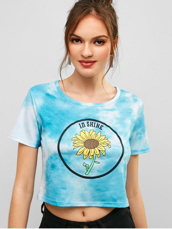 fashion ZAFUL Sunflower Print Tie Dye Crop Tee - MULTI L