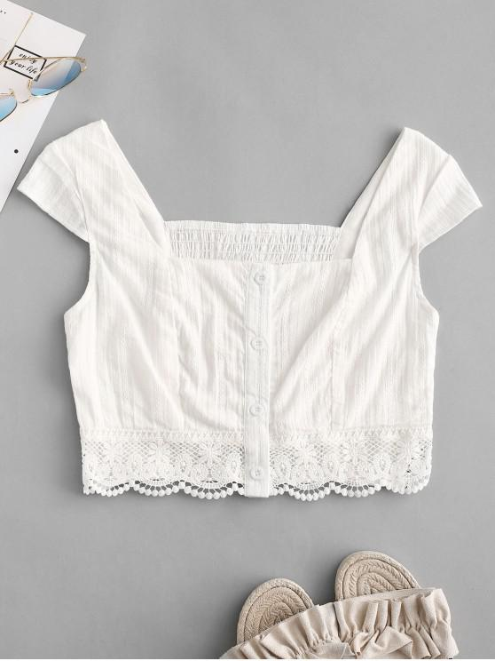 fancy Crochet Hem Smocked Crop Top - WHITE S