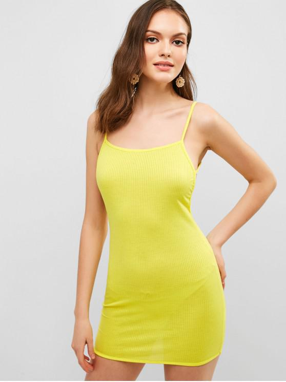 affordable Solid Color Backless Cami Dress - YELLOW L