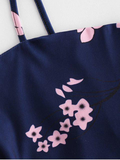hot Tied Back Floral Cami Mini Dress - DARK SLATE BLUE M Mobile