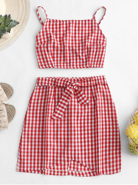 chic Gingham Cami Top and Knot Skirt Set - RED L Mobile