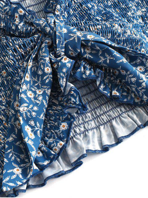 new Tiny Floral Smocked Ruffles Skirt Set - CRYSTAL BLUE L Mobile