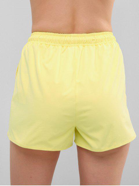womens ZAFUL Drawstring Pocket Shorts - YELLOW S Mobile