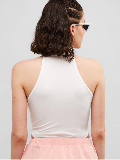 Body Cuello Alto Tanga De Corte Alto - Blanco M Mobile