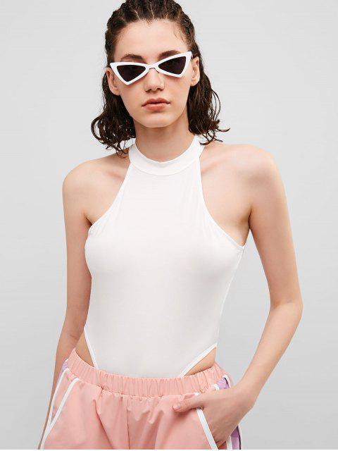 Body Cuello Alto Tanga De Corte Alto - Blanco L Mobile