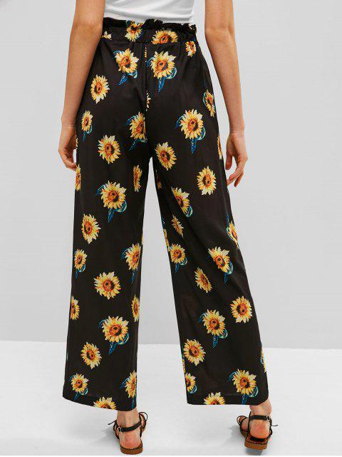 trendy ZAFUL Drawstring Sunflower Wide Leg Pants - BLACK S Mobile