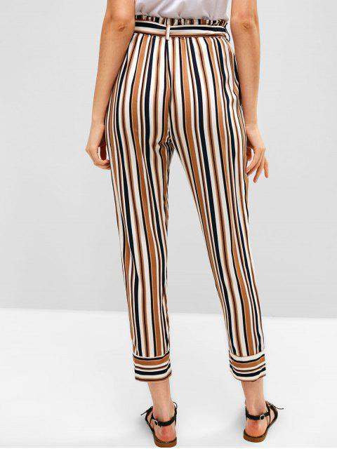 Pantalones de bolsa de papel con cinturón de rayas ZAFUL - Multicolor M Mobile