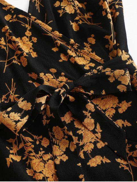 Robe Ceinturée Fleurie à Bretelle à Volants - Noir S Mobile