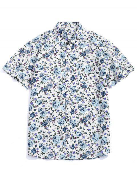 Camisa con botones estampados en toda la prenda de flores. - Multicolor-B L Mobile